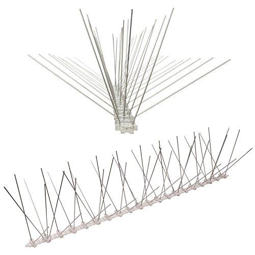 Pestsystems Vogelabwehrsystem, 1 Meter Taubenspikes 5-reihig auf Polycarbonat - hochwertige Lösung für Vogelabwehr Taubenabwehr Spikes