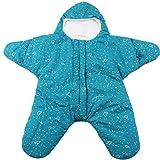 ARAUS-Baby Jungen und Mädchen Winter Schlafsäcke Seestern-Muster Kinderschlafsäcke unisex dicke warm Neugeborene Schlafstrampler Baumwolle 0-12 Monate blau