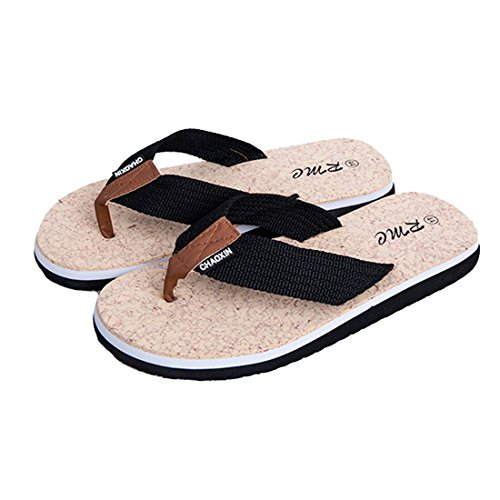 Vertvie Men's Casual Braid Thong Flip Flop Beach Slippers (43 EU, Black)