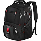 Laptop Backpack, Water Resistant Computer Rucksack with USB Charging Port and Headphone Hole, 17.3 inch School Backpack for Hiking & Outdoor, Fits for most 17 inch Notebook-Black