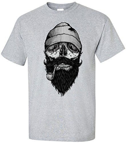 PAPAYANA - BONE-SAILOR - Herren T-Shirt - HIPSTER SKULL FACE ANCHOR ANKER SHIP DOPE Grau Meliert