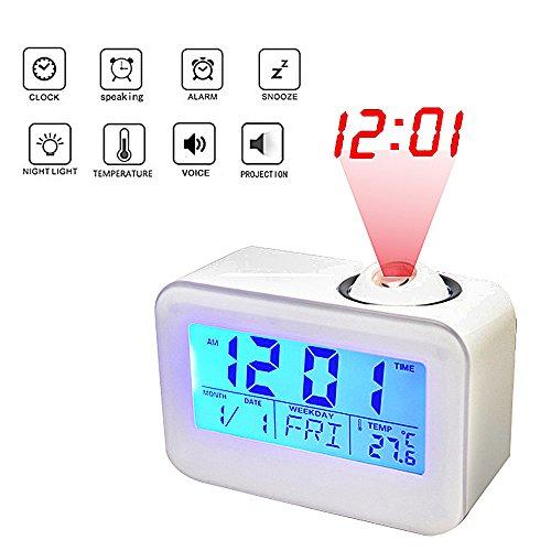 Manfore Digitaler Wecker mit Projection / Projektionswecker mit Temperaturalarm / Snooze / Tag/Datum Anzeigen Digitale Bettseite Wecker