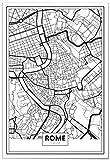 Panorama Poster Carte de Rome 35 x 50 cm - Imprimée sur Poster de Grande qualité - Poster Ville Noir et Blanc - Tableau Moderne pour la Maison - Décoration Murale - Affiche Vintage