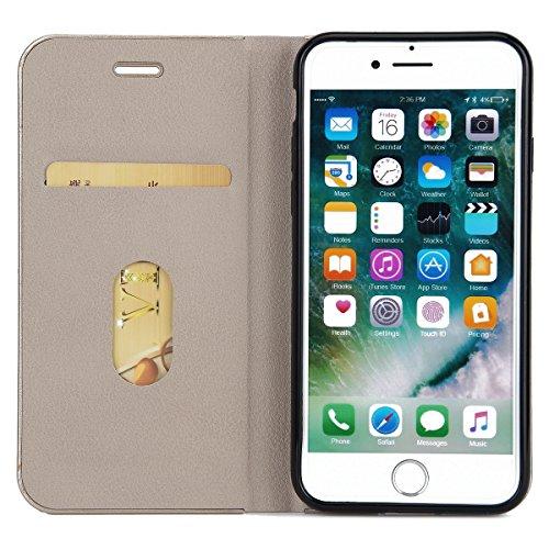 Custodia iPhone 7, iPhone 7 Flip Case Leather, SainCat Custodia in Pelle Cover per iPhone 7, Anti-Scratch Book Style Protettiva Caso PU Leather Flip Portafoglio Custodia Libro Protettiva Custodia a Po Grigio