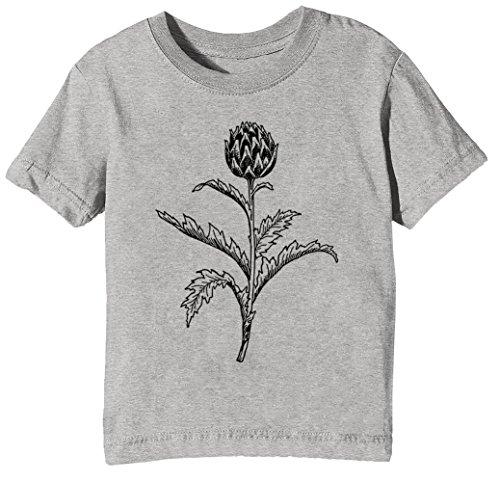 Artischocken Kinder Unisex Jungen Mädchen T-Shirt Rundhals Grau Kurzarm Größe XL Kids Boys Girls Grey X-Large Size XL (T-shirt Lager Kurzarm)
