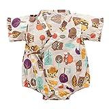 Tyoby Baby Bodys Unisex Retro ischer Yukata-Bandage-Kimono-Overall Baby Spielanzugriemen (Beige,80)