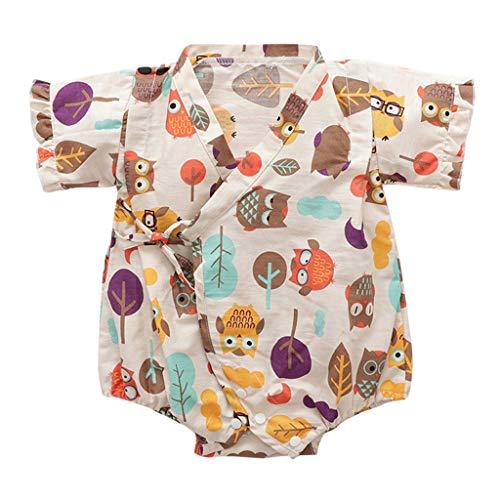 Allegorly Neugeborene Baby Strampler Kimono Vintage Bademantel Kind Mädchen Kurzarm Retro Blumendruck Overall Sommer Party Spielanzug Bodys Einteiler Jumpsuit Outfits Bodysuit 0-12 Monate
