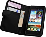 Membrane - Black Leather Wallet Case for Huawei Ascend G510 - Flip Phone Cover