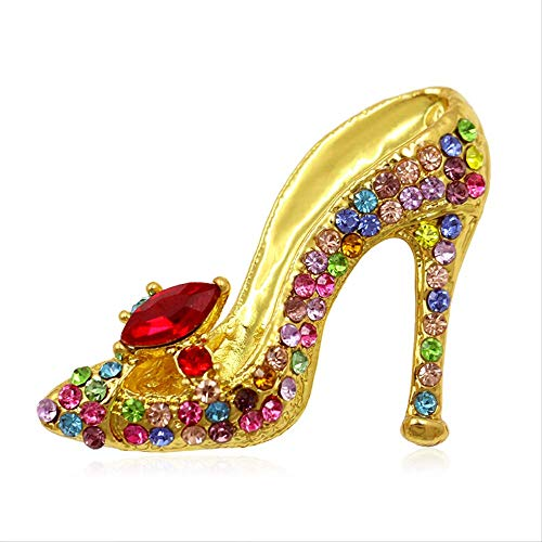 ti-Colors Crystal Strass High Heel Schuhe Brosche Pins Für Frauen   Gold Multi ()