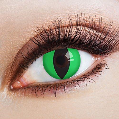 Couleur des lentilles de contact Green Cat de aricona - années couvrant la lentille à terme pour les yeux sombres et claires- sans correction- les lentilles colorées pour le carnaval- des soirées à thème et des costumes d'Halloween
