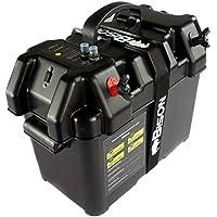 Bison Caja portabatería con cargador USB, medidor LED, interruptor y toma de 12 V