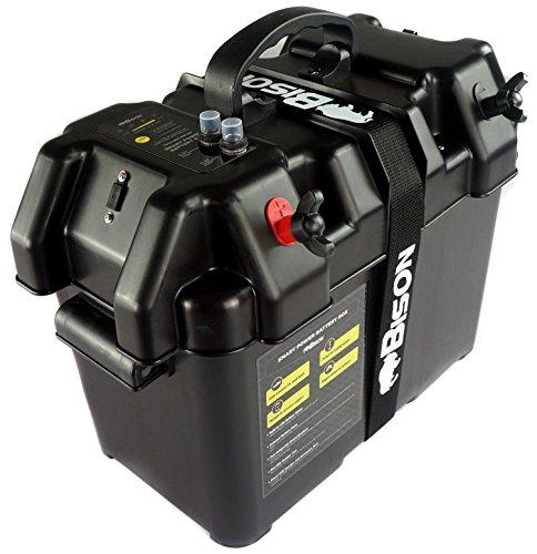 Boîte de transport Bison pour batterie avec chargeur USB, indicateur LED, disjoncteur et prise 12V
