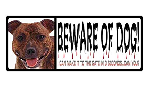 beware of dog sign staffordshire bull terrier