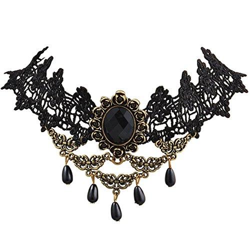 Jane stone perline statement collana girocollo choker della gotiche nappa girocollo choker della catena regolabile in nylon e lega metallica