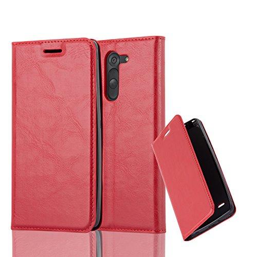 Cadorabo Hülle für LG G3 Stylus - Hülle in Apfel ROT - Handyhülle mit Magnetverschluss, Standfunktion und Kartenfach - Case Cover Schutzhülle Etui Tasche Book Klapp Style