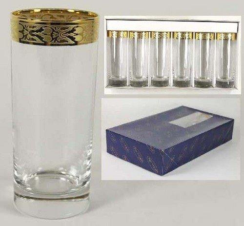 LINEA Oro Silber/Gold Rand Gläser, Set von 6-Made in Italy..., gold, 10 ounce highball -