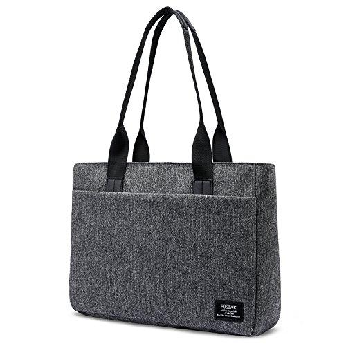 FOSTAK Bolsos totes/Bolso de hombro para mujer Bolso de viaje Messenger Bag elegante Bolsas portátiles para negocio que trabaja Notebook/ordenador portátil de 15.6 Inch,Gris