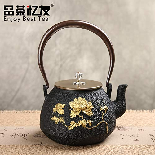 ROKTONG Flower Pattern Cast Iron Teapot Set Japanese Tea Pot Tetsubin Kettle 1000ml Drinkware Kung Fu Infusers Cooking Tools Tetsubin Cast Iron