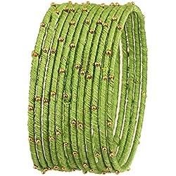 Touchstone Collection de bracelets en fil de soie, aspect exotique en faux fil de soie fabriqué à la main avec des bracelets jonc design pour femme 2.5 Ensemble de 12 Green parrot