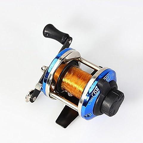 Saguaro® más pequeño Metal Bait Casting bobina de mini placa de carrete de pesca giratorio barco hielo pescado rueda de agua Baitcast rodillo con 50m Línea de nylon
