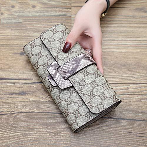 Lwlroyti Damen Geldbörse Lange Lederschnalle Multi-Karten Position einfache Geldbörse Schlangenmuster Farbe Leder Geldbörse, beige -