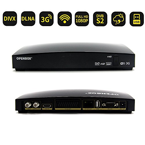 OPENBOX V8S Receptor de TV por Satélite Full HD 1080P Decodificador DVB-S2 USB IPTV SAT Receiver Satellite Soporte BissKey PowerVu Youtube Youporn UE Plug para España