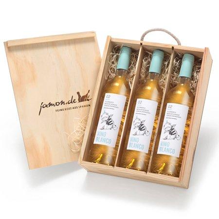 Weingeschenk BLANCO | Drei Weißweine aus Spanien | Geschenkfertig verpackt in Weinkiste aus Holz |...