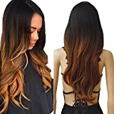 Wigs for Women Long Curly Full Head Wig Black Brown Mix Ombre Synthetic Hair Natural Fashionable Heat Resistant Wigs