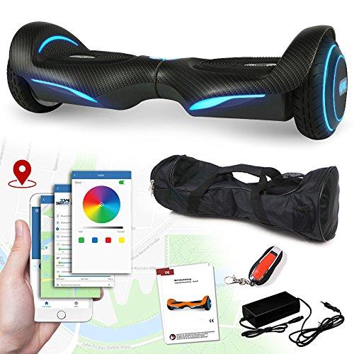 Hoverboard Vision 800 Watt mit App Funktion, Beleuchtete Felgen mit RGB-LED Farbwechsel, Bluetooth Lautsprecher, Kinder Sicherheitsmodus Elektro Self Balance Scooter (Carbon)
