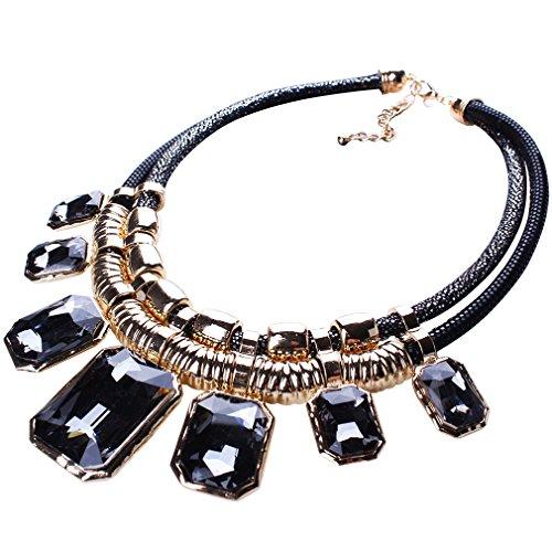 Yazilind Grau Charm Anhänger Kette Crystal Choker Klobige Bib Anweisung Kurze Halskette Halsband