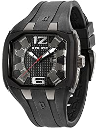 Police Men's Quartz Watch with Grey Dial Analogue Display and Black Silicone Strap 13889JPBU/61