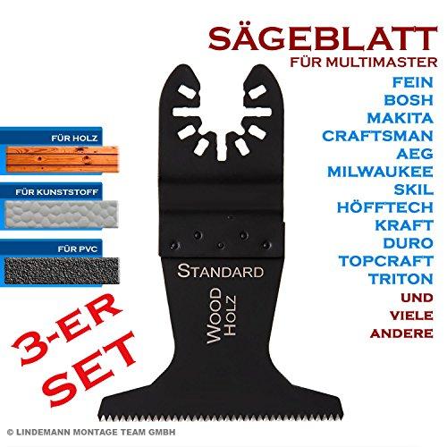 3-er SET Multifunktionswerkzeug Sägeblatt 65mm für Holz, Laminat, Parkett, Kunststoff für Multimaster Fein, Bosch, Skil, Makita u.a.