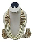 CATALYST Bridal Collection Exclusive Stylish White Pearl & Kundan Necklace Rani Haar with Earrings for Women(121W)