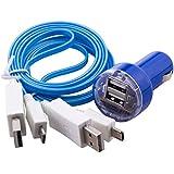 C.D.R. 2 x LED-Kabel Highspeed Flachladekabel,- Datenkabel mit Dual Kfz für DOOGEE X5, DOOGEE Y100 PRO, DOOGEE Y100X, DOOGEE DG280 TIMMY E86, TIMMY M7, LANDVO L500, LANDVO L500S, SWEES, LENOVO A616, LENOVO A816, OUKITEL ORIGINAL ONE, OUKITEL ORIGINAL ONE DUAL SIM, OUKITEL U2, TAKWAK TW700 OUTDOOR, SAMSUNG GALAXY J1 j100H, BLACKBERRY P9982 PORSCHE in 4 verschiedenen Farbe erhältlich (blau)