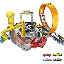 Grand Garage Speed Racer Playset Hippodrome Assemblé Piste Parking Génie Urbain Construction Jouets avec 4 Voitures