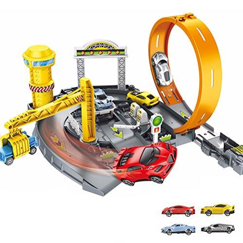 Speed Racer Playset, Hippodrome avec 1 boucles et 4 voitures, piste Big course pour les voitures, les enfants piste de course de voiture