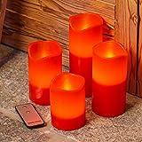 LuminalPark Pack 4 Velas LED de Cera roja, Ø7,5 cm, Distintas Alturas, LED luz Cálida, Mando Control, Efecto Llama, Luces a Pilas para Navidad