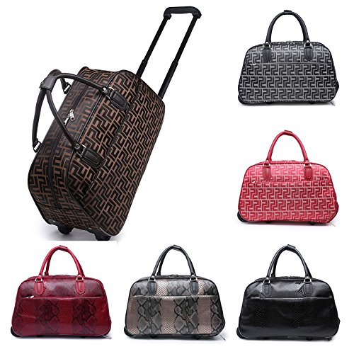 Big Handbag In volo Holiday Travel-Borsone per Weekend Borsa-Trolley bagaglio a mano Coffee - Girls Print