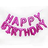 AKA Happy Birthday Balloon Bunting Banner 16 Inch Letters Foil (Pink)