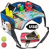 TavolinoGioco1+ da Viaggio Auto per Bambini 2.0 con porta USB x Tablet,Smartphone Tavolino Sedile Vassoio Gioco Portatile per Disegnare,Intrattenere bimbi in Aereo,Treno,Passeggino,Seggiolino(Blu)
