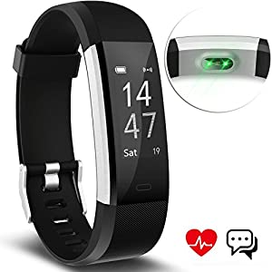 Fitness Tracker Aneken Smart Bracelet with Heart Rate Monitor Activity Tracker Bluetooth Pedometer with Sleep Monitor Smartwatch for IOS Android iPhone Samsung Smartphones