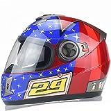 Doppel Objektiv Elektro Motorrad Helm Männer und Frauen Full Face Helm Vier Jahreszeiten Universal Helm (Farbe : Red Pattern)