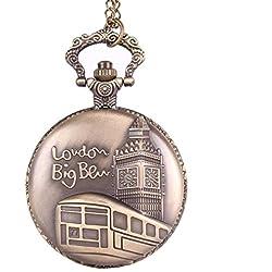 UniqueBella Unisex Antique Bronze Flip-Open Quartz Pocket Watch Pendant with Chain Necklace London Big Ben Design