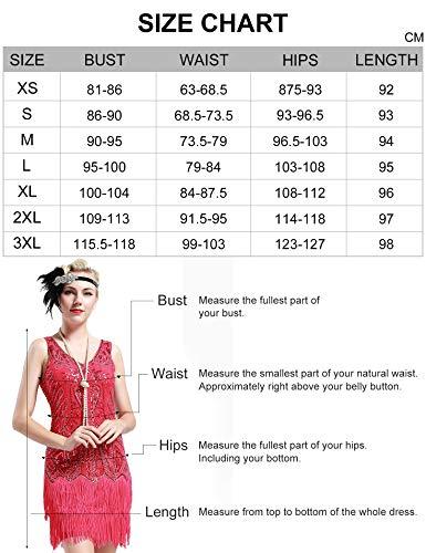 BABEYOND Damen Retro 1920er Stil Flapper Kleider mit Zwei Schichten Troddel V Ausschnitt Great Gatsby Motto Party Kostüm Kleider- Gr. S (Fits 74-84 cm Waist & 92-102 cm Hips), Schwarz