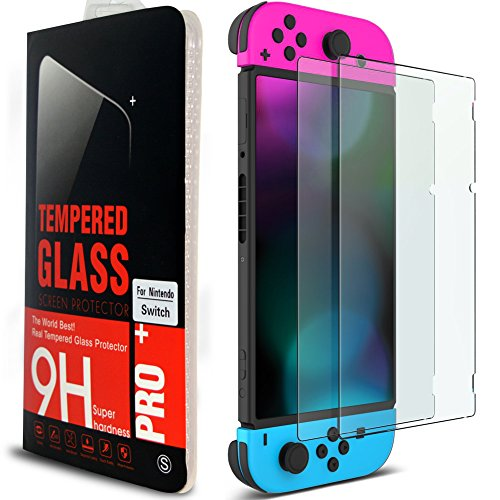 eprocase Nintendo Schalter Displayschutzfolie Gehärtetem Glas Schalter Displayschutzfolie Anti-Fingerprint Folie 2.5D/0,26mm/Härtegrad 9H 2017Pack (2er Pack)