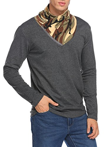 Finejo Sweatshirt Herren Langarm Camouflage Zipper Oversize Leicht Stehkragen Slim Fit T-Shirt Dunkel Grau