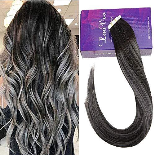 Laavoo 50cm 2.5gr/pc tape on capelli extension veri adesive skin weft nero balayage silver glue in human hair liscio 50 grammo/pacchetto