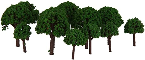 Generic 50pcs 3cm Scenery Landscape Train Model Trees Green Scale 1/500