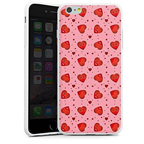 Apple iPhone X Silikon Hülle Case Schutzhülle Valentinstag Pink Herzen Silikon Case weiß