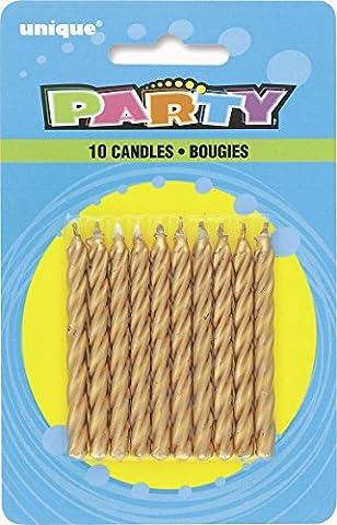 Unique Party - 1943 - Paquet de 10 Bougies d'Anniversaire - Or - Spirale